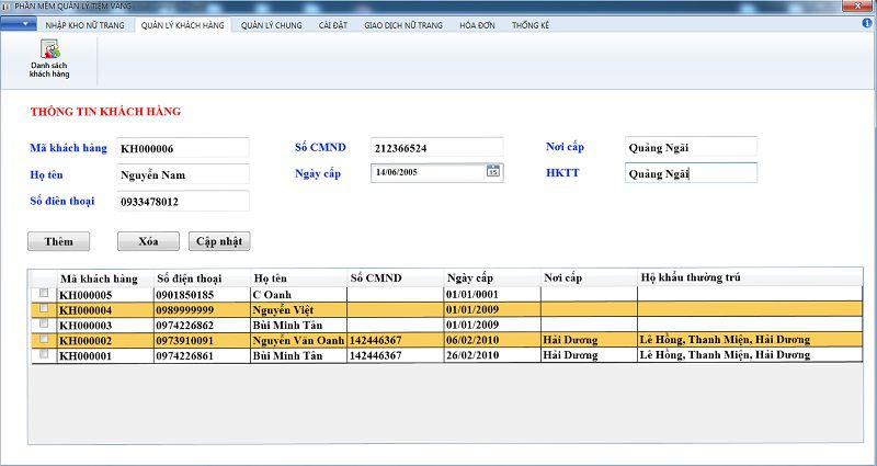 thông tin khách hàng trên phần mềm quản lý tiệm vàng