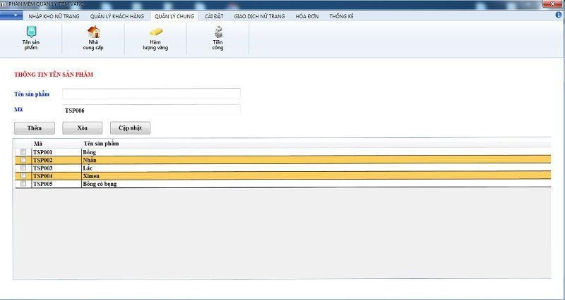 thêm tên sản phẩm phần mềm quản lý tiệm vàng