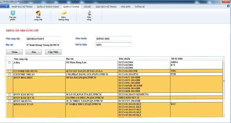 thêm nhà sản xuất phần mềm quản lý tiệm vàng