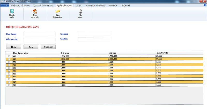 thêm hàm lượng vàng phần mềm quản lý tiệm vàng