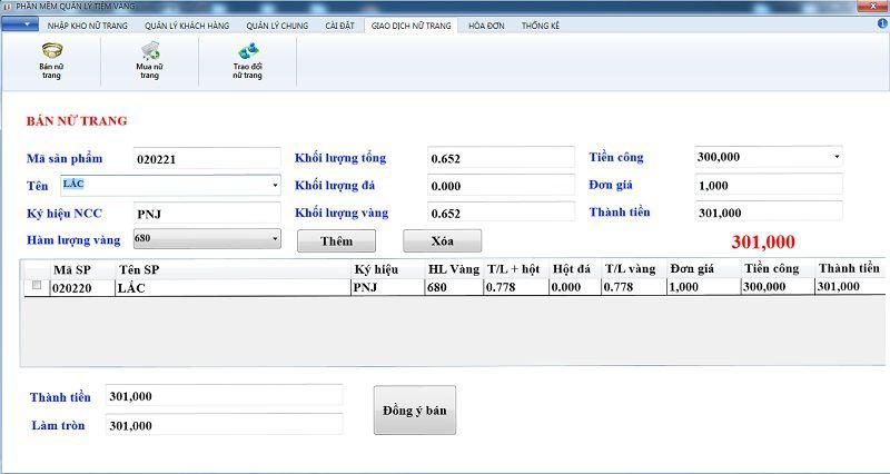 giao dịch bán nữ trang phần mềm quản lý tiệm vàng