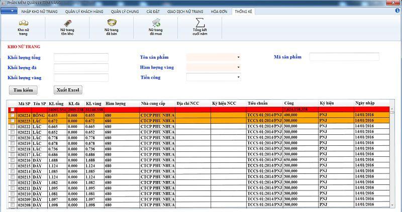 thống kê kho nữ trang phần mềm quản lý tiệm vàng