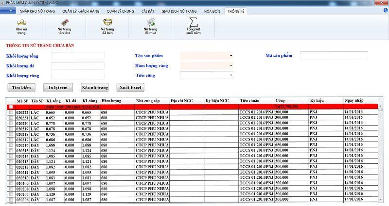 hàng tồn kho phần mềm quản lý tiệm vàng