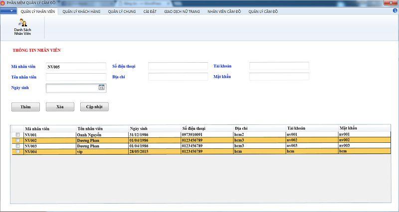 thông tin nhân viên trên phần mềm quản lý tiệm vàng