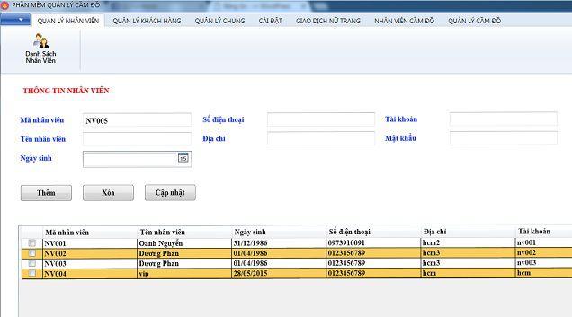 Phần mềm quản lý cầm vàng
