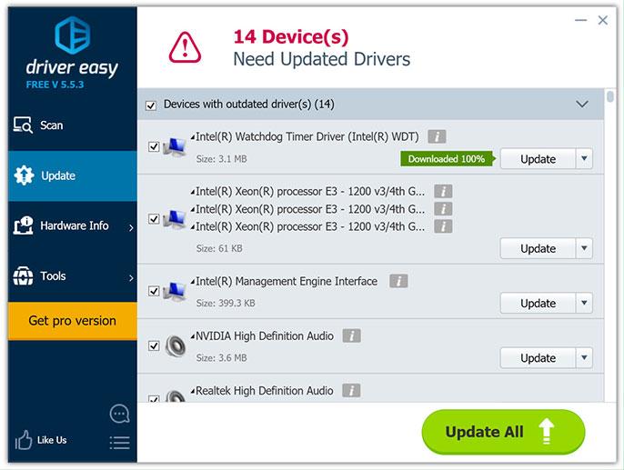 phần mềm cập nhật driver driver easy