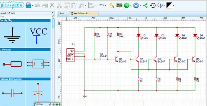 phần mềm mô phỏng mạch điện - easyEDA