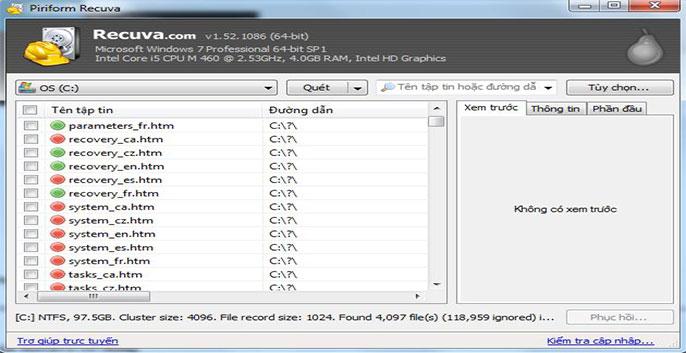 phần mềm hiện file ẩn recuva