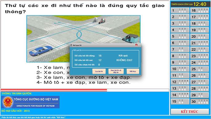 câu hỏi sa hình phần mềm thi bằng lái xe a1
